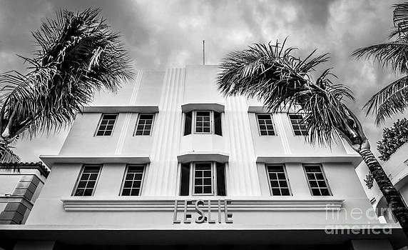 Ian Monk - Leslie Hotel South Beach Miami Art Deco Detail - Black and White