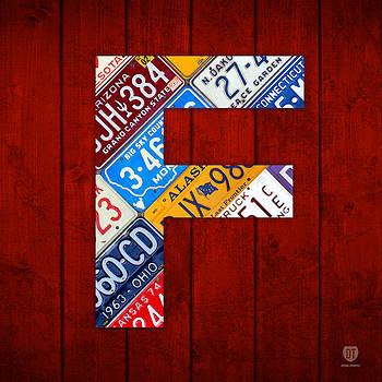 Design Turnpike - Letter F Alphabet Vintage License Plate Art