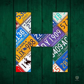Design Turnpike - Letter H Alphabet Vintage License Plate Art