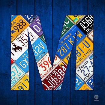 Design Turnpike - Letter M Alphabet Vintage License Plate Art