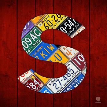 Design Turnpike - Letter S Alphabet Vintage License Plate Art