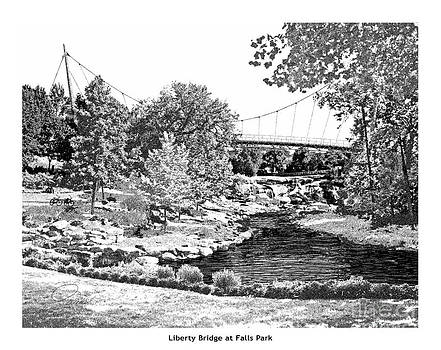 Liberty Bridge at Falls Park - Architectural Rendering by A Wells Artworks