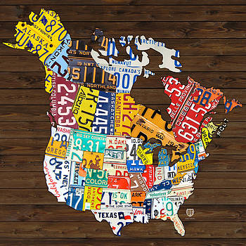 License Plate Map of North America - Canada and United States by Design Turnpike
