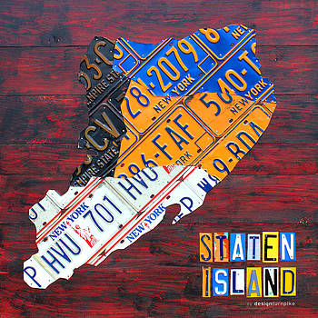 License Plate Map of Staten Island New York NYC by Design Turnpike
