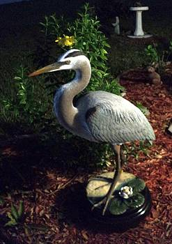 Life Size Great Blue Heron wildlife art sculpture by Chris Dixon