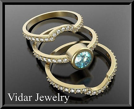 Light Blue Aquamarine And Diamond 14k Yellow Gold Wedding Ring Set by Roi Avidar