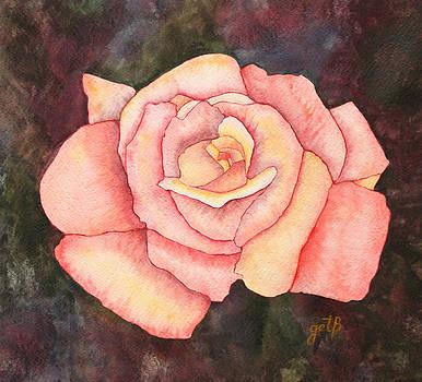 Light Pink Rose original watercolor painting on paper by Georgeta  Blanaru