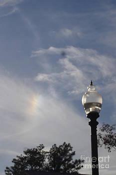 Light Post and Rainbow Sky by Allison  Adams