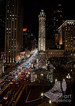 Light up the night -Michigan Avenue in Chicago Illinois by Linda Matlow