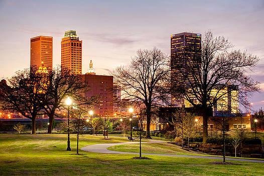 Lighted Walkway to the Tulsa Oklahoma Skyline by Gregory Ballos
