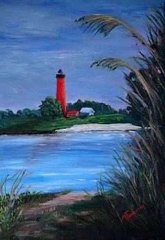 Lighthouse at NewSmyrna Beach by Marsha Thornton