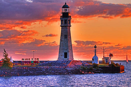 Lighthouse at Sunset by Don Nieman