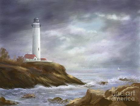 Lighthouse Stormy Sky Seascape by Judy Filarecki