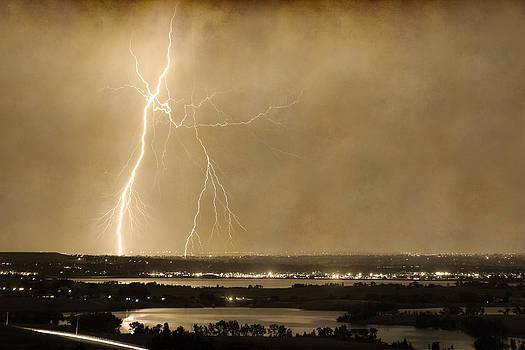 James BO  Insogna - Lightning Strike Boulder Reservoir and Coot Lake Sepia 2