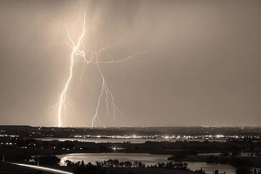 James BO  Insogna - Lightning Strike Boulder Reservoir and Coot Lake Sepia