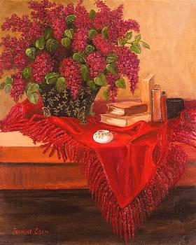Lilacs and Ceramics by Jeanene Stein