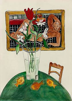 Lilies A Tulip Three Fish and Matisse by Elaine Elliott