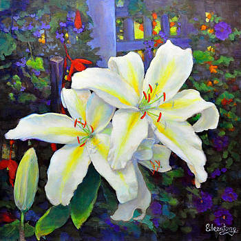 Lilies by the Fence by Eileen  Fong