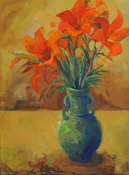 Lilies in Celadon Vase by Terri Messinger