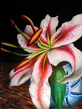 Lily in Blue and White Vase by Michelle East