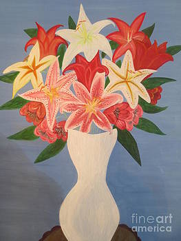Lily's in Vase Closer by Sandra Spincola