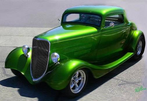 Lime Green Auto  by Mary M Collins