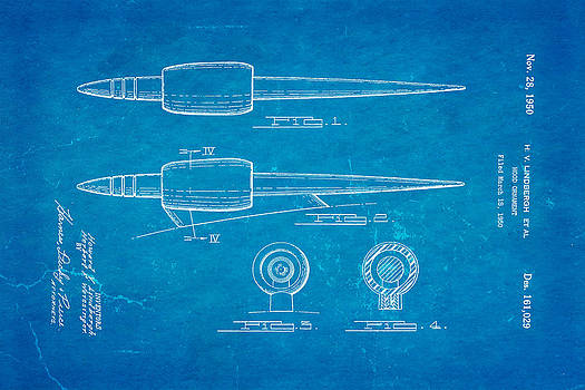 Ian Monk - Lindbergh Hood Ornament Patent Art 1950 Blueprint