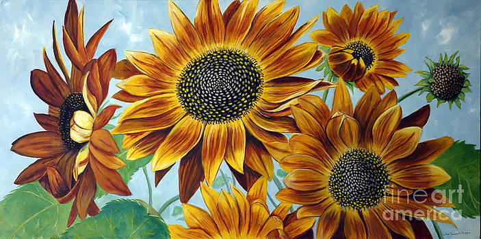 Lindsays Red Sunflowers by JoAnn Morgan Smith