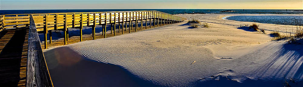Boardwalk to the Gulf at Sunset by Gej Jones