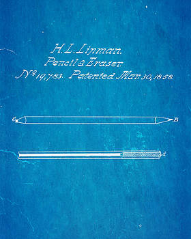 Ian Monk - Linman Pencil and Eraser Patent Art 1858 Blueprint