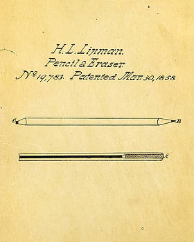 Ian Monk - Linman Pencil and Eraser Patent Art 1858