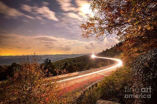 Linn Cove Viaduct Light Trails by Robert Loe