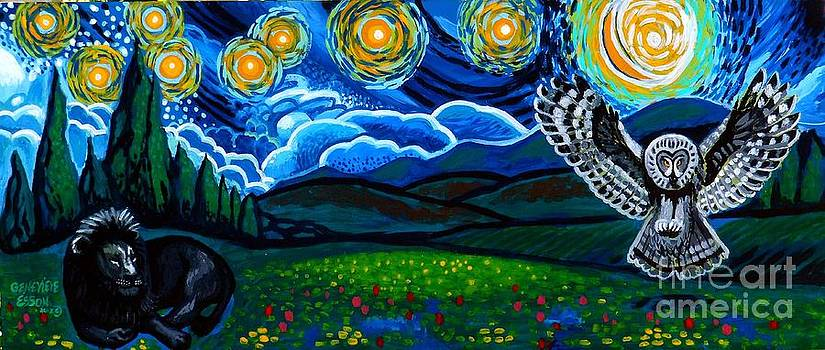 Genevieve Esson - Lion And Owl On A Starry Night