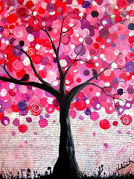 Lipstick pink bubble tree by Wendy Smith