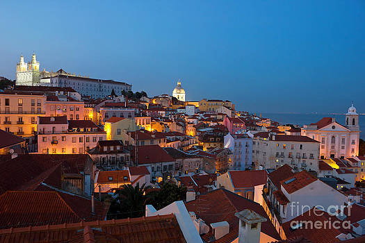 Lisbon City Lights Panoramic Alfama View by Kiril Stanchev