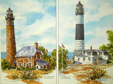 Little and Big Point Sable Lighthouses by Becky Taylor Fine Art