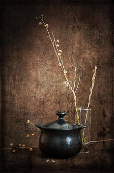 Little Black Pot With Weeds by Jim Larimer