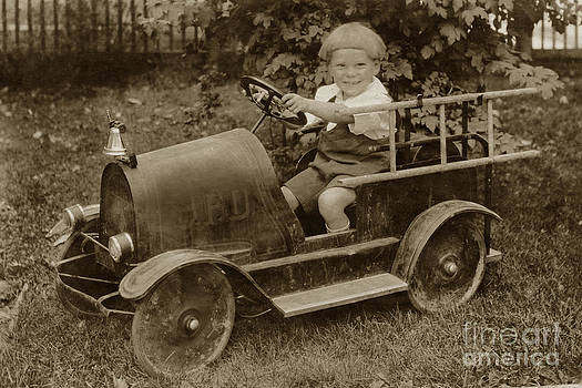 California Views Mr Pat Hathaway Archives - Little boy in Toy Fire Engine circa 1920