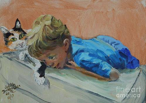 Little Boy With Cat by Judith Espinoza
