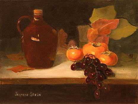 Little Brown Jug and Fruit by Jeanene Stein