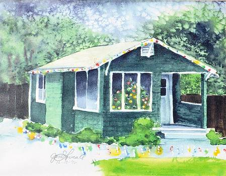 Little Green House at Christmas by Jane Loveall