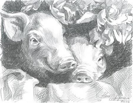 Little pigs with flowers by Alena Nikifarava