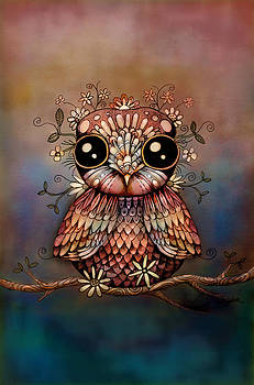 Little Rainbow Flower Owl by Karin Taylor