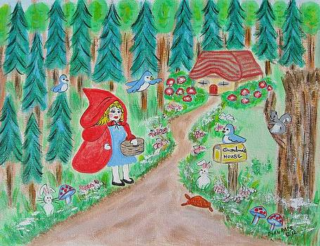 Little Red Riding Hood with Grandma's House on Mailbox by Diane Pape