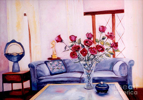 Living Room with Roses by Karen Francis