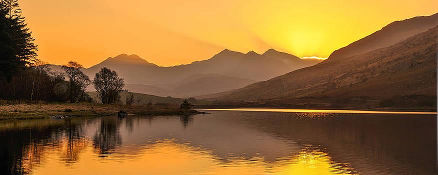Llynnau Mymbyr Snowdon in the distance  by Regie Marshall