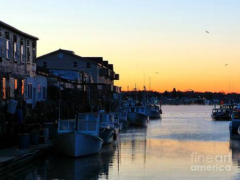 Lobster Boat Wharf Sunrise by Christine Stack