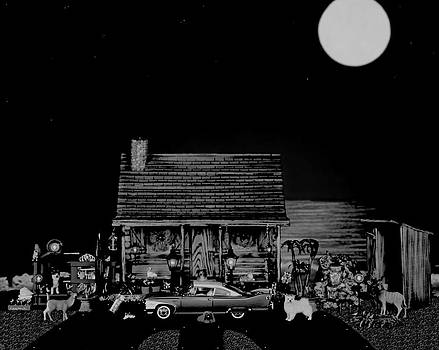 Miniature Log Cabin Scene With The Old Vintage Classic 1960 Plymouth Fury In Black And White by Leslie Crotty