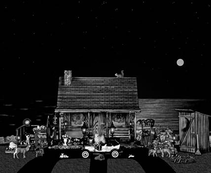 Log Cabin Scene In Black And White With Old Time Classic 1908 Model T Ford by Leslie Crotty