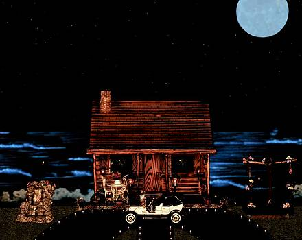 Log Cabin Scene With 1908 Model T Ford by Leslie Crotty